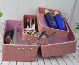 Rectángulo de almacenaje cosmético de múltiples capas de la belleza de la PU
