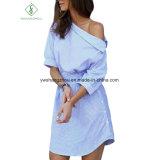 2017 Moda un hombro elegante azul rayas vestido de camisa de las mujeres