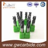 Moinho de extremidade contínuo HRC50 do quadrado do carboneto de 4 flautas