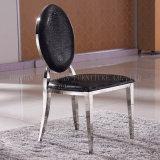 Luxuxentwurfs-Schwarzes PU-lederner runde Rückseiten-Bankett-Edelstahl, der Stuhl speist