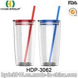 20oz는 도매한다 두 배 벽 플라스틱 컵, 밀짚 (HDP-3062)를 가진 승진 BPA 자유로운 플라스틱 공이치기용수철을