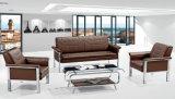 لون بيضاء يعيش غرفة [جنوين لثر] أريكة ([هإكس-فز054])