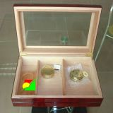 Rectángulo de regalo de madera del embalaje del cigarro de la alta calidad con el metal más cercano