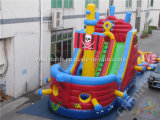 Diapositiva inflable atractiva de la nave de pirata, barco inflable del pirata