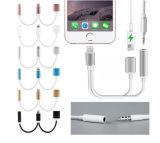 2017 venta caliente 2 en 1 adaptador de carga del cable hasta el cargador del convertidor del conector de Gato del auricular del audio de 3.5m m para el iPhone 7 7s más
