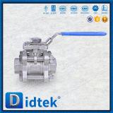 El acero inoxidable de Didtek Pn40 F304 forjó la vávula de bola de 3 extremos roscados de la PC