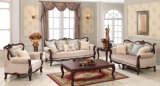 居間のための標準的なファブリックソファーおよび骨董品表の一定の木のソファ