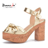 (Donna-в) сандалии платформы пробочки женщин высокой пятки яркой овчины толщиные