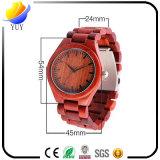 Relógio de madeira impermeável do Sandalwood vermelho