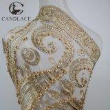 Ricamo in rilievo del tessuto del merletto di colore 3D dell'oro