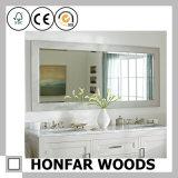 Классическая белая законченный деревянная рамка зеркала для ванной комнаты
