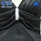 Le signore d'Esposizione-Indietro di modo del V-Collo della maglia sexy nera della Slimmering-Vita lungamente si vestono