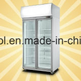 Upright Double Glass Doors Supermercado Beverage Refrigerated Display Showcase
