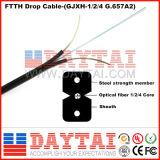 Cabo pendente interno de cabo pendente FTTH da fibra óptica com fio de aço
