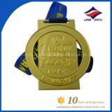 Medaglia corrente della concorrenza di sport della medaglia dell'oro antico con il nastro su ordinazione