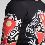 Helle Baumwolle gedruckte Schablonen-Schwarz-bequeme Form-Kleidung