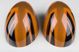 真新しいABS小型たる製造人R56-R61のための高品質カーボンミラーカバーとのプラスチック紫外線保護されたスポーティな様式のオレンジ英国国旗カラー