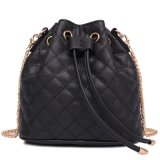 女性のドローストリングのバケツの形のショルダー・バッグのQulitedleather袋