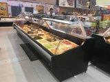 Porta de vidro curvada fresca/refrigerador alimento do supermercado fino com compressor famoso