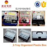 caixas plásticas Assorment do armazenamento preto de 2-Tray