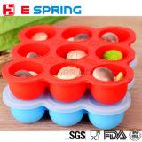 9 cavità BPA liberano il cassetto del congelatore del contenitore di alimento del silicone con il coperchio del silicone