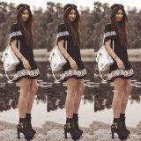 Nuovo etnico dell'annata di estate del vestito dal panno delle donne di marca di alta qualità stampato intorno vestito Feminino Femme Vestidos da Short del collo della O al mini