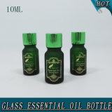 10ml темнота - зеленая горячая штемпелюя бутылка матированного стекла для эфирного масла