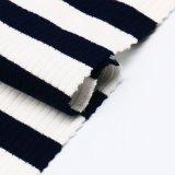 Tela listrada do Knit do Spandex do poliéster de rayon de partes superiores das mulheres