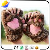 Guantes calientes de la historieta del oso de la felpa del Semi-Dedo de las señoras