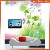 Fleurs blanches du papier peint deux imperméables à l'eau de fond de TV grandes pour la peinture à l'huile de décoration