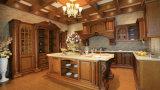 Het hete Verkoop Aangepaste Stevige Houten meubilair van de Keuken met de Kabinetten van de Muur