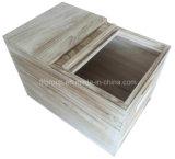 Rectángulo de almacenaje de madera natural cocido al horno respetuoso del medio ambiente de Paulownia del compartimiento de madera del arroz
