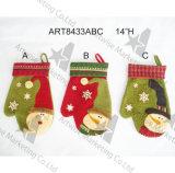 Mitaine de bonhomme de neige de Santa de décoration de Noël, 3asst