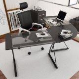 Mesa de escritório Home de vidro da L-Forma para a estação de trabalho do computador no preto
