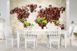 Spezielle Entwurfs-Kaffeebohne-Karte des Ölgemäldes der Weltmuster-Küche-Dekor-Kaffeestube-3D