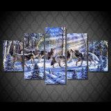 [هد] طبع الذؤبان في الثلج [بينتينغ كنفس] [برينت رووم] زخرفة طبلة ملصقة صورة نوع خيش [مك-076]