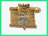 Cufflink золота с логосом гравирует (m-CL03)