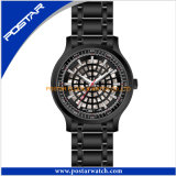 Schwarze Soem-mechanische Sport-Quarz-Uhr für Männer mit Edelstahl-Band