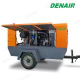ディーゼル機関ねじ空気圧縮機の後ろのTowable移動式牽引