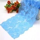 Голубые флористические уравновешивания шнурка вязания крючком для Lingeries и бюстгальтера