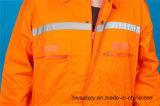 Workwear longo da combinação da segurança da luva do poliéster 35%Cotton de 65% com reflexivo (BLY1017)