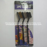 3PC Plastic Handle Mini Wire Brush Set para Polishing (YY-382)