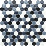 Mosaico di cristallo nero e grigio esagonale per la decorazione