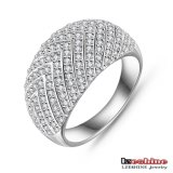 18k White Gold Plated Inlaid Zircon Male Wedding Ring (CRI0025-B)