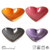 10cm Heart Shaped Ceramic Bowl Full Glaze con Colored Rim