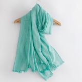 Frauen arbeiten normaler Farben-Baumwolle Silk Schal um (YKY1148)