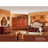 고전적인 침실 가구는 고대 침대 및 옷장 (W809)로 놓았다