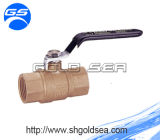 Ball de bronze Valve com Stainless Steel Handle e Threaded Connection, Available em Natural Color ou em Nickel