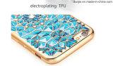 La caja de electrochapado transparente del teléfono celular del estilo TPU de la joyería del Rhinestone de Bling tiene existencias (XSDD-018)