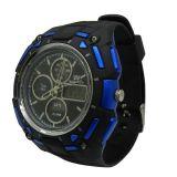 ABSは輪ゴムの日本動きの防水黒いクロノグラフの空想の腕時計を包装する